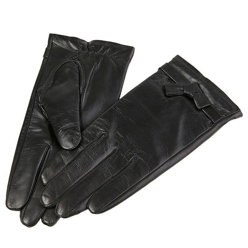 觸控手套真皮手套-山羊皮薄款可愛皮條結女手套73wm66【獨家進口】【米蘭精品】 0
