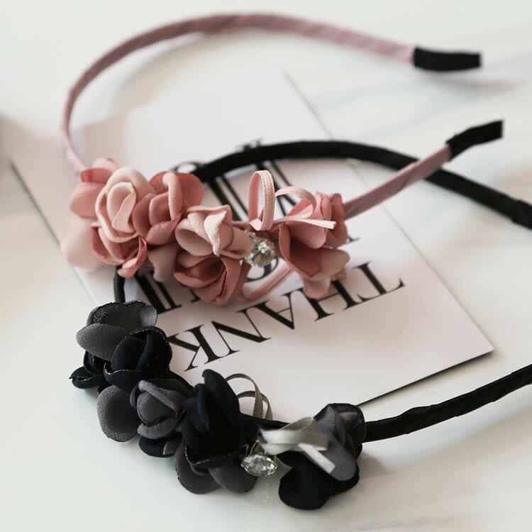 韓系名媛風立體花朵鑽飾髮箍