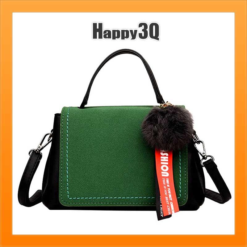 斜背包手提包毛球單肩包飾帶女包小包包磨砂絨面旅行上飛機小包包-黃/綠/粉/黑【AAA3149】