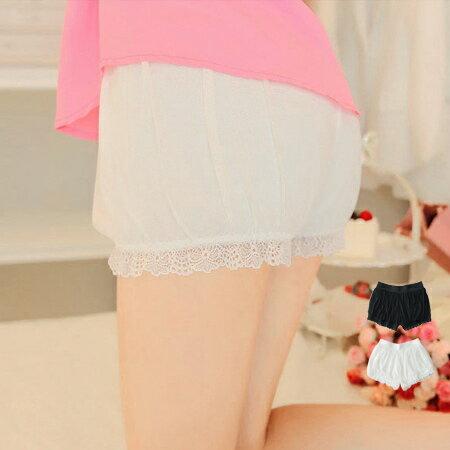 彈性網紗下擺蕾絲安全褲 防走光 高透氣 舒適 鬆緊 網紗 燈籠褲 短褲~N201701~