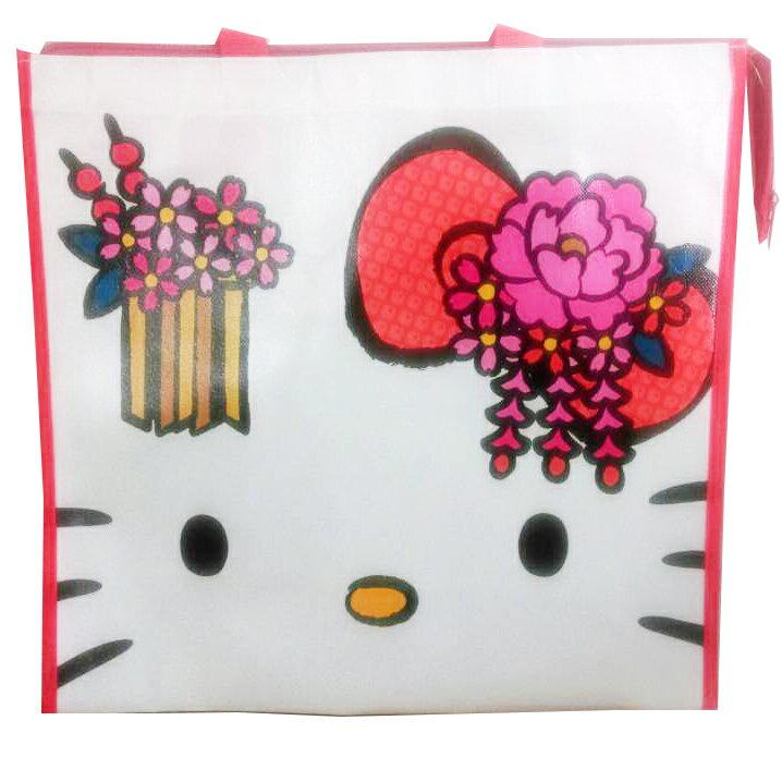 <br/><br/>  【真愛日本】15062300002 手提袋-KT大臉粉花紅 三麗鷗 Hello Kitty 凱蒂貓 收納袋 萬用袋 正品 限量 預購<br/><br/>