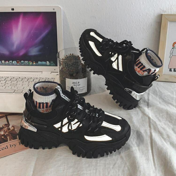厚底鞋 2020春季新款全黑色運動鞋女百搭街拍學生休閒鞋厚底老爹鞋ins潮