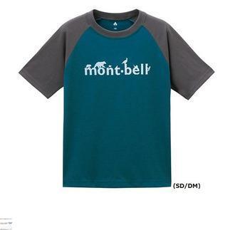 ├登山樂┤日本mont-bellWIC.T-SHIRT配色兒童排汗短袖-褐汽油藍#1114324SDDM