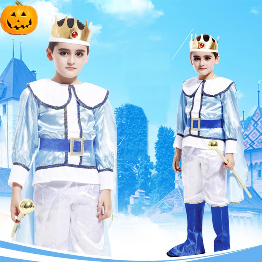 兒童萬聖節服裝 男童國王角色扮演