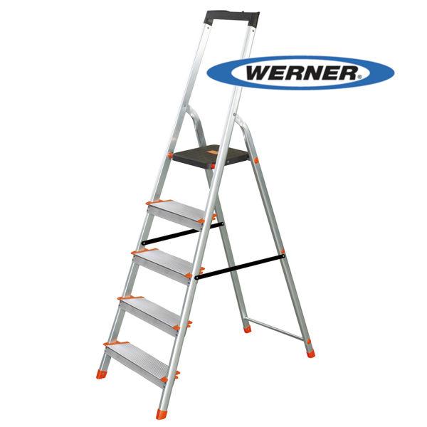 美國Werner穩耐安全鋁梯-L235R-2 鋁合金寬踏板5階梯 大平台/A字梯