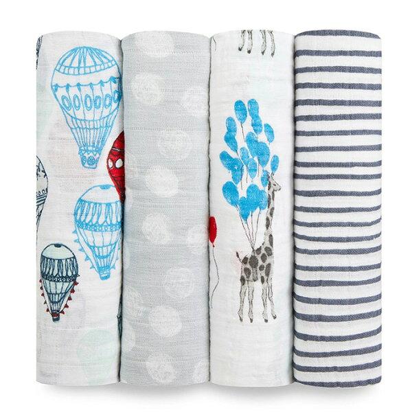 蓋毯包巾四季被Aden+Anais純棉包巾美國嬰兒包巾120x120cm4入組夢想遨遊