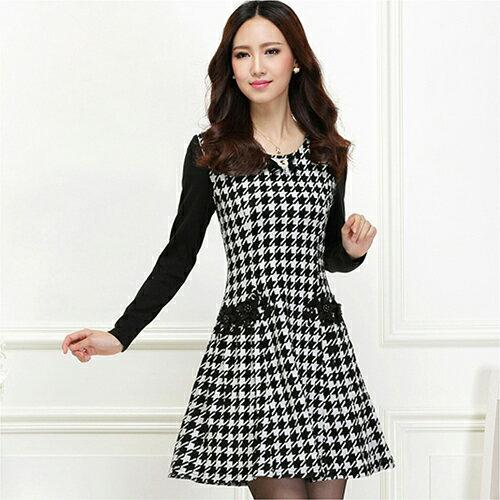 收腰顯瘦優雅氣質千鳥格連身裙(2色,S~3XL)-ORead自由風格