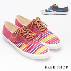 《Free Shop》Free Shop【QSH0369】日韓風格線條繽紛色系撞色綁帶帆布休閒鞋懶人鞋‧二色(U64) MIT台灣製