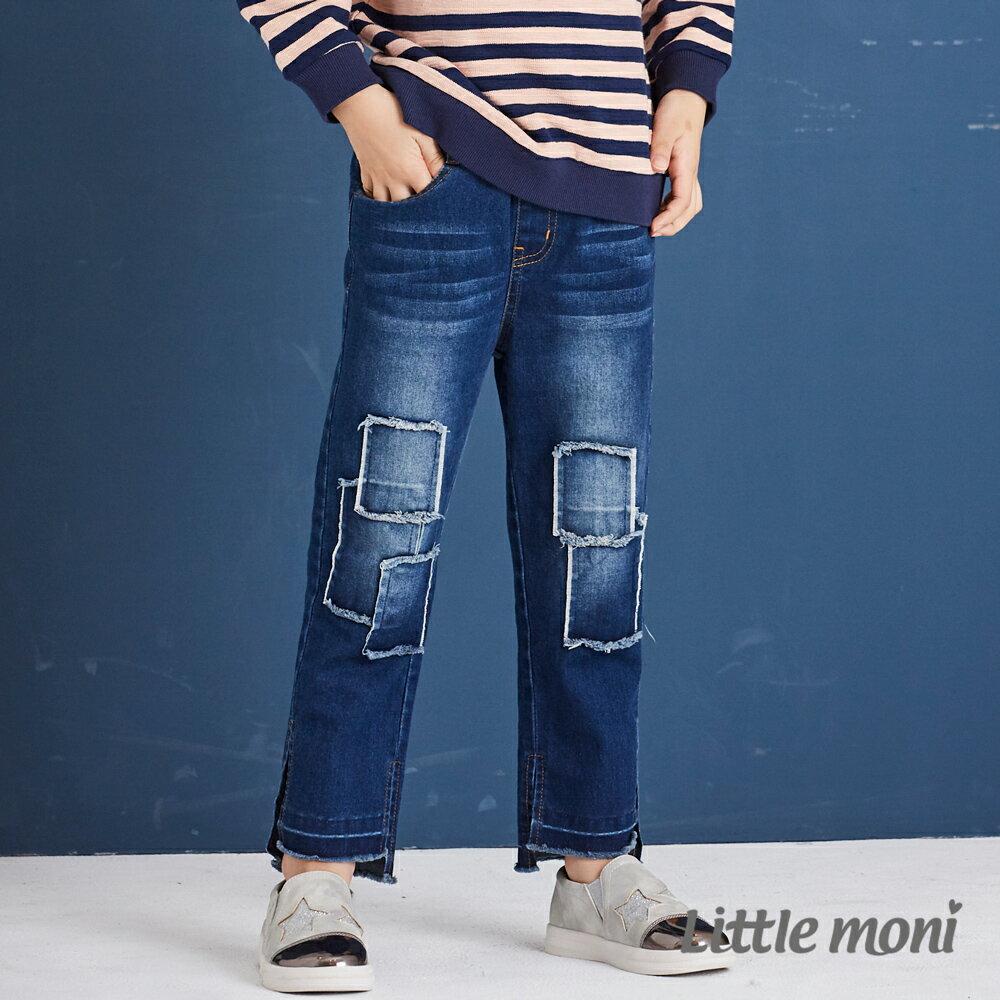 Little moni 個性貼布牛仔長褲-牛仔藍(好窩生活節) 0
