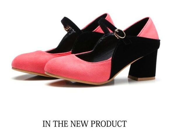 Pyf♥復古氣質絨面雙色方頭一字扣粗跟鞋高跟瑪莉珍鞋加大48大尺碼女鞋