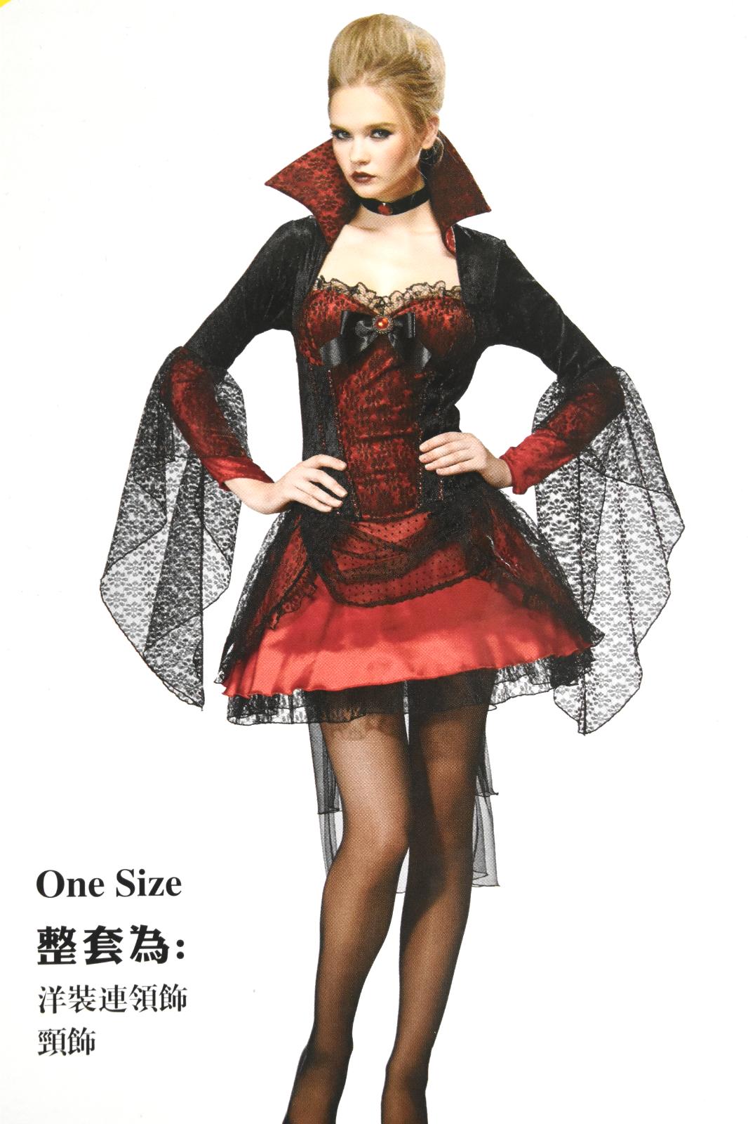 X射線~W380160~紅黑短蓬裙吸血鬼,死神 巫婆 尾牙 萬聖 聖誕 大人變裝 cosp