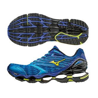頂級鞋款 WAVE PROPHECY 5 男慢跑鞋 J1GC160047(藍X螢光黃)S【美津濃MIZUNO】