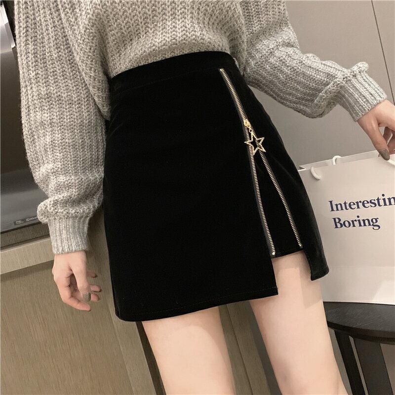 絲絨半身裙女2019新款秋冬港味時尚氣質個性拉鏈開叉性感顯瘦短裙1入