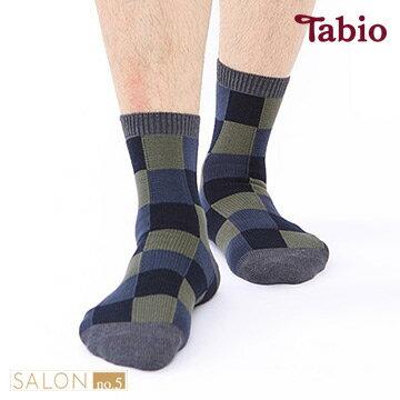 靴下屋Tabio 男款 格紋色塊棉質短襪