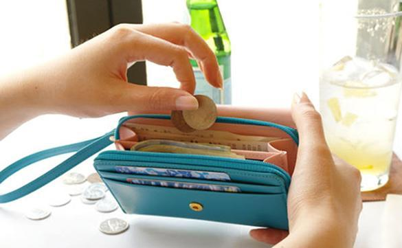 Women Clutch Bag Cell Phone Pockets Coins Purse 2