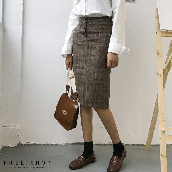 FreeShop顯瘦復古高腰格紋裙學院風毛呢中長款修身開衩格子裙A字裙經典百搭時尚時髦【QCCAU1024】