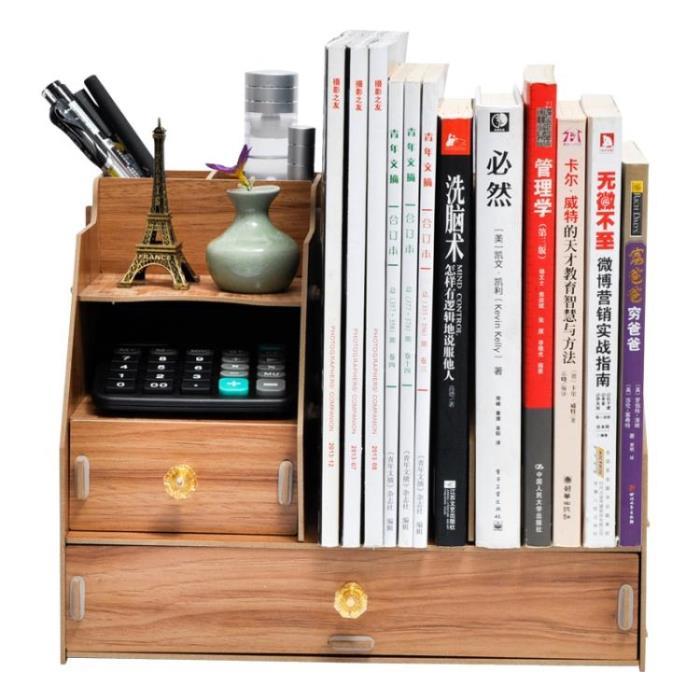 辦公用品桌面收納盒架文件夾木質創意書架書立多層整理資料置物架