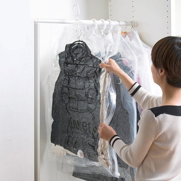PS Mall 掛式真空衣物壓縮袋 側拉懸掛壓縮袋 收納防塵 吊掛式 掛衣袋【J583】