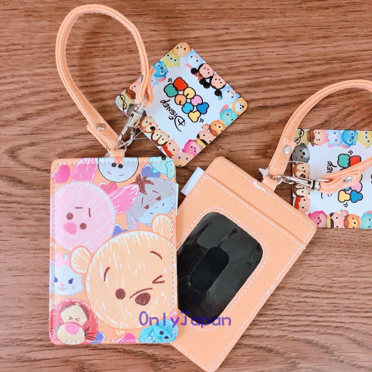 【真愛日本】18030900028 斜紋皮革票卡夾-TSUM畫筆人物橘 小熊維尼 小豬 票卡夾 卡片套 tsum
