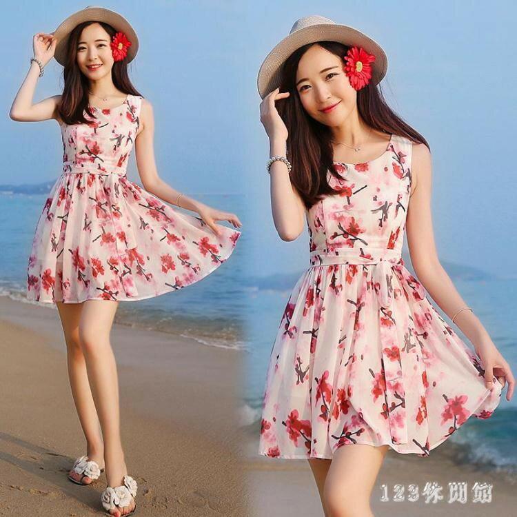 韓版時尚潮流xs夏無袖雪紡洋裝波西米亞海邊沙灘裙小個子女裝顯高店150cmLB13977《小蘿莉》 1