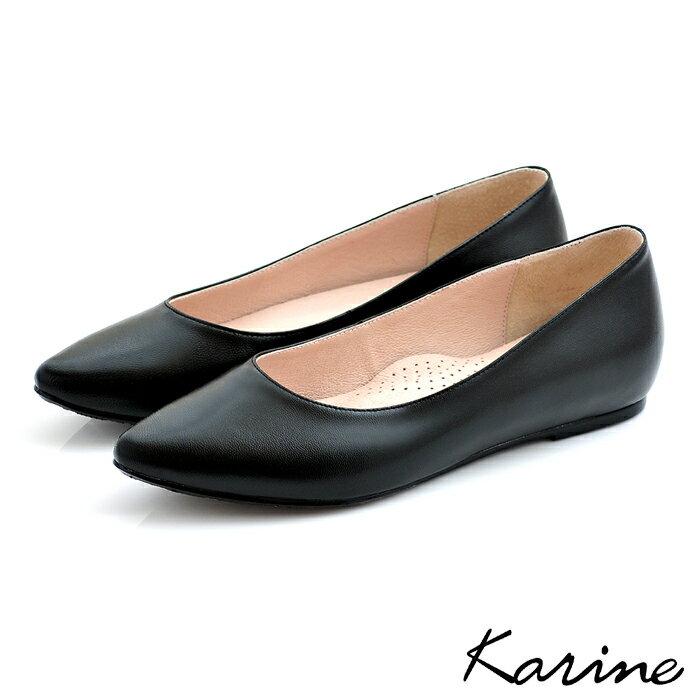 karine(MIT台灣製)全真皮尖頭內增高楔型鞋-黑色