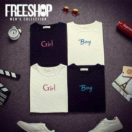 情侶短T Free Shop~QFSEK520~簡約百搭款BF風文字印花 棉質短T短袖上衣