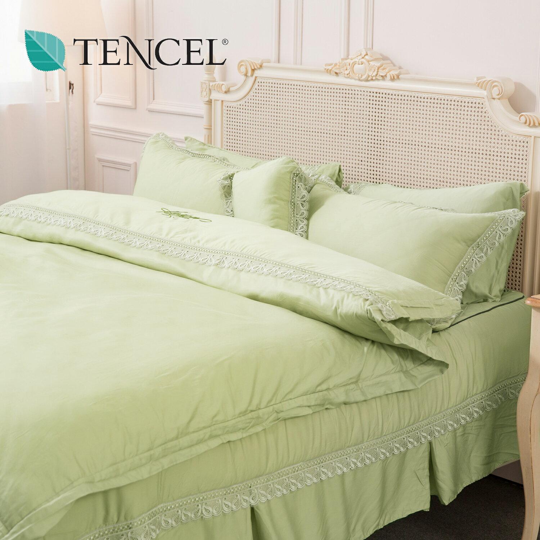 【名流寢飾家居館】綠絲如茵.80支天絲床罩組.標準雙人床罩組全套.全程臺灣製造