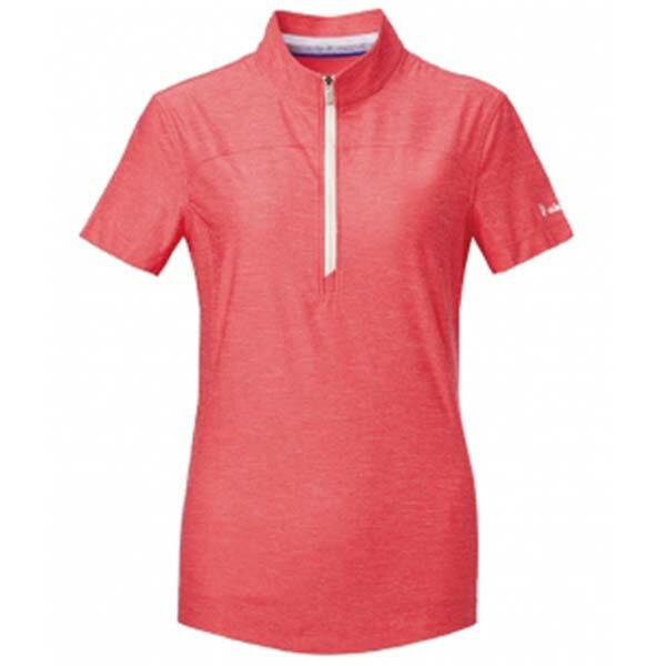 《台南悠活運動家》WILDLAND61621女拉鍊雙色吸濕排汗上衣芙蓉紅