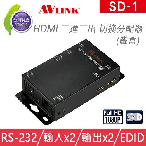 台灣製 AVLINK SD-1 HDMI二進二出 切換分配器
