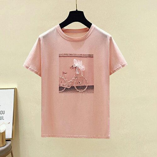 鑲鑽自行車立體花朵半袖T恤(2色S~XL)【OREAD】 0