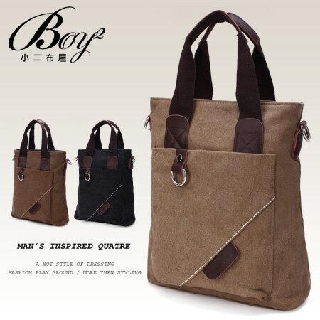 ☆BOY-2☆【NQA5054】型男簡約時尚拼接皮標帆布手提包 0