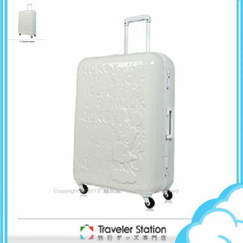 【騷包館】【CROWN皇冠】19.5吋TSA海關鎖 Disney夢想新版米奇硬殼旅行箱 象牙白