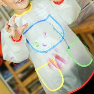 美麗大街【BF581E11E802】兒童繪畫塗鴉防污圍裙畫畫衣防水罩衣吃飯衣