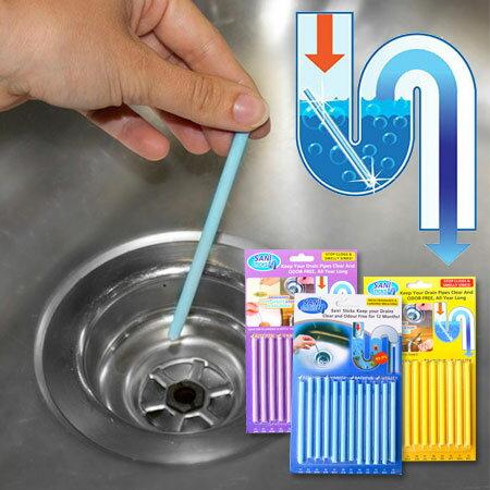SANI STICKS下水道疏通清潔棒 12支/一盒 萬用清潔棒 去污棒 清潔棒 水道 除臭 疏通 水管 廚房 浴室【B062356】