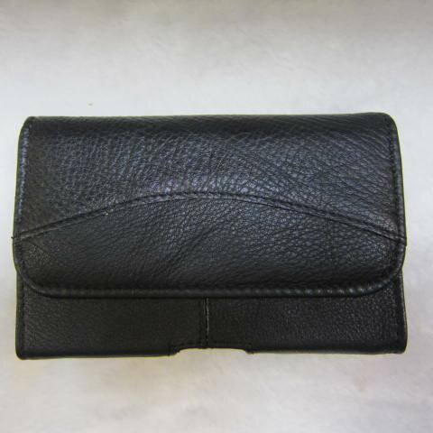~雪黛屋~SANDIA-POLO 手機皮套100%進口牛皮革4寸手機適用可釦於皮帶上二組加強固定設計#3644(4.5寸)黑
