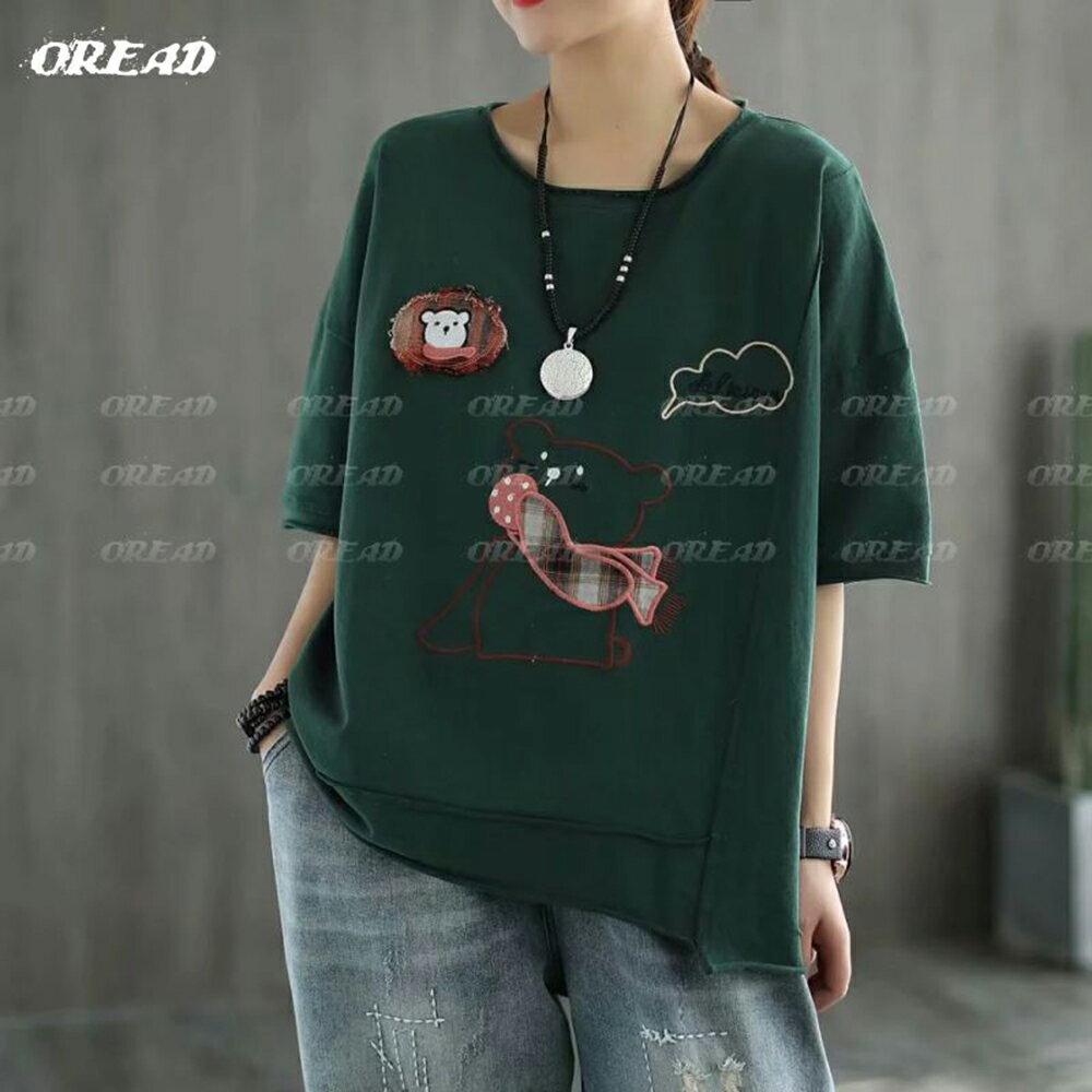 休閒圍巾小熊寬鬆短袖上衣(4色F碼)*ORead* 2