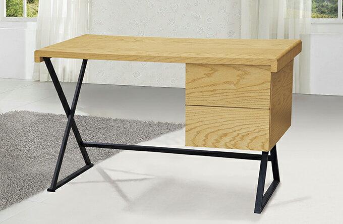 【尚品家具】?JF-333-4 狀元4尺栓木本色二抽書桌