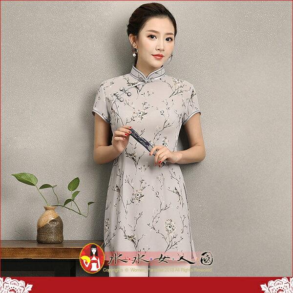 【水水女人國】~如詩如畫~另人驚豔。藝術極品中國風美穿在身~典茵。復古立領雪紡印花時尚改良式短袖旗袍唐裝上衣
