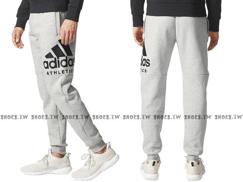 Shoestw【BC4873】ADIDAS ATHLETICS 運動長褲 棉褲 縮口褲 修身款 內刷毛 灰色 男生