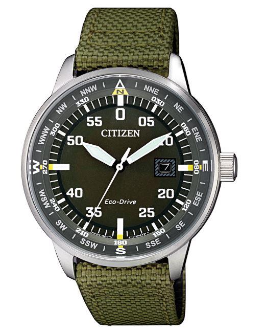 大高雄鐘錶城 CITIZEN 星辰 BM7390-22X 簡約質感光動能腕表 軍綠 42mm