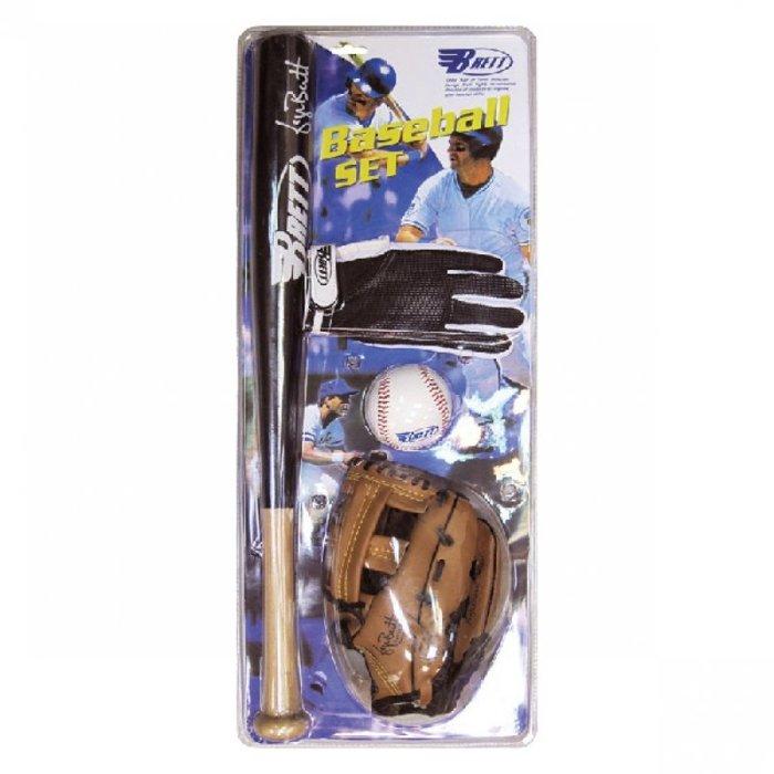 【H.Y SPORT】 BRETTJBS-01少年棒球組 球棒+球+手套+HIDO樂樂棒組 (單支球棒+帆布袋+兩顆球)