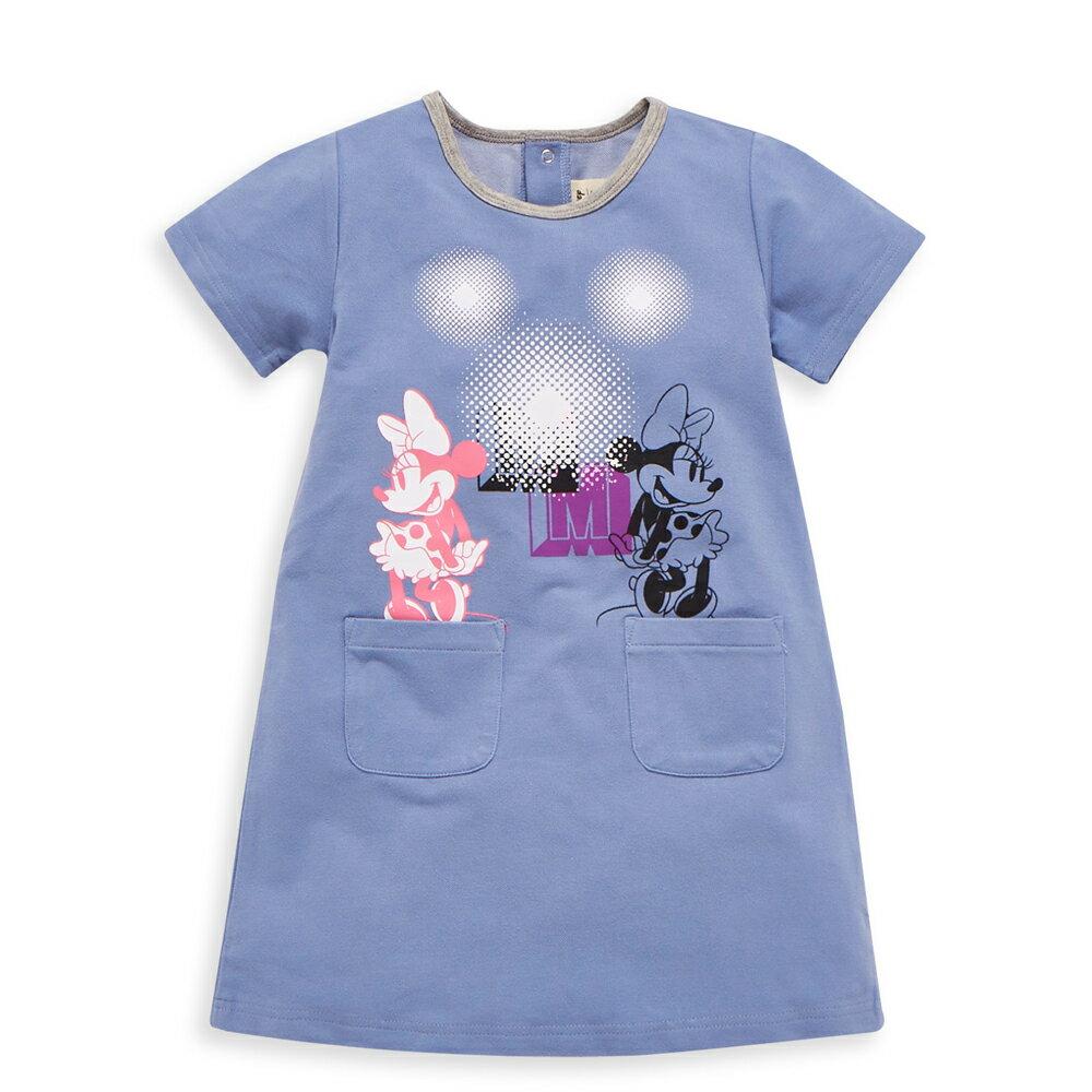 Disney 米妮系列閃閃口袋洋裝-單寧布藍
