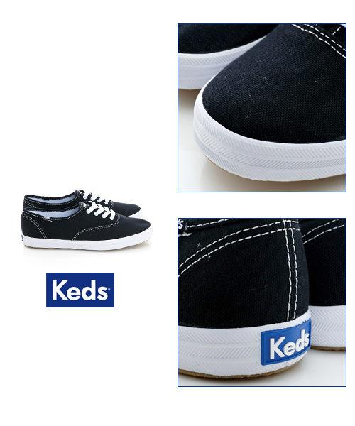 Keds 品牌經典帆布鞋-黑色 綁帶│懶人鞋│平底 2