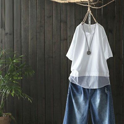 短袖T恤打底衫-時尚條紋拼接休閒女上衣73sj98【獨家進口】【米蘭精品】