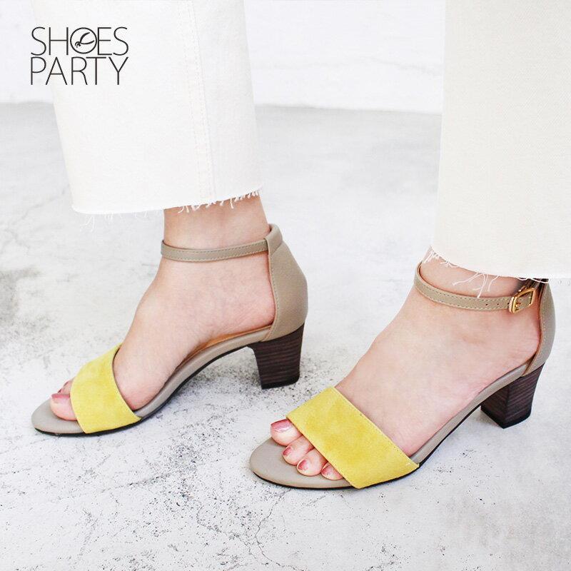 【S2-17613L】春夏必備簡約一字設計中跟涼鞋_Shoes Party 1