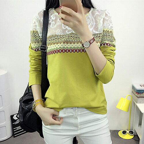 圓領蕾絲印花修身T恤 (3色,M~2XL) - ORead 自由風格