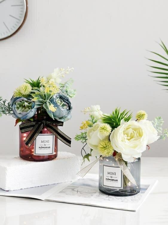 仿真花 假花 ins仿真花束客廳擺設花裝飾假花仿真玫瑰花客廳餐桌花藝擺件