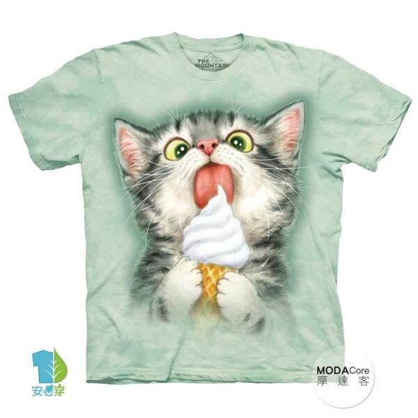 【摩達客】(預購)美國進口TheMountain冰淇淋貓咪純棉環保藝術中性短袖T恤
