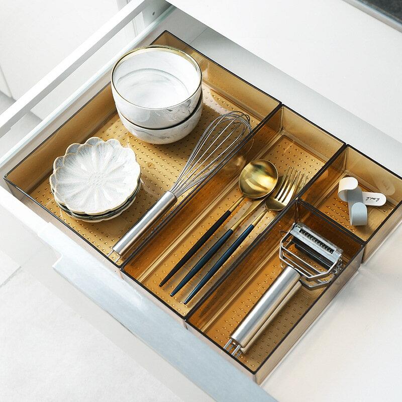 家用收納盒抽屜刀叉餐具分隔盒子廚房加厚分類格子分格收納盒桌面