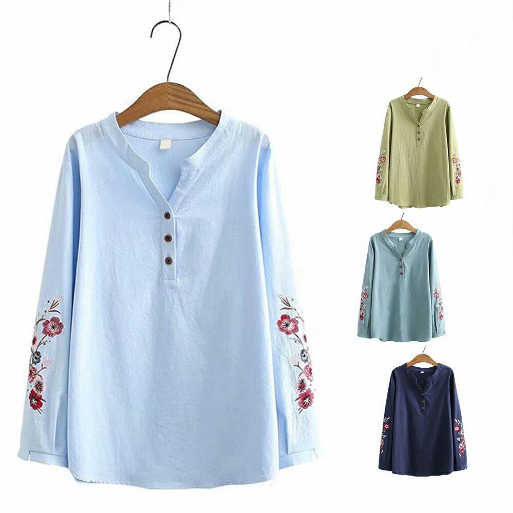 花朵刺繡棉麻V領長袖襯衫(4色XL~4XL)*ORead* 1